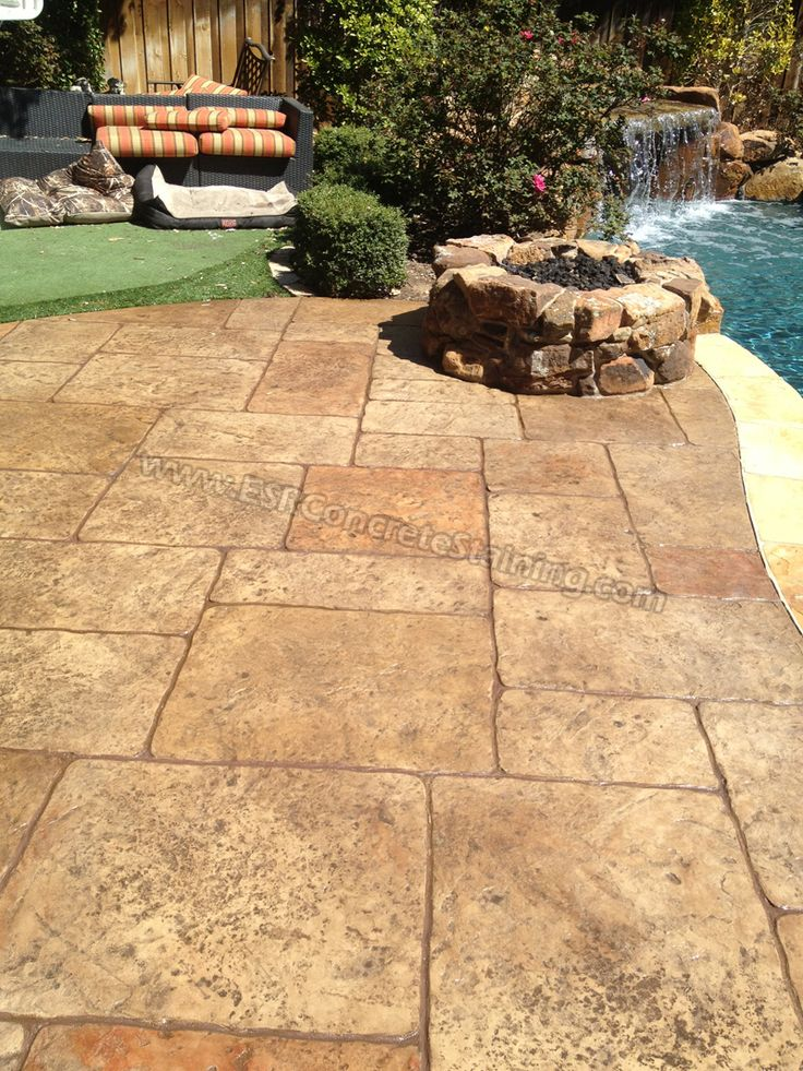 Stamped concrete overlay pool deck frisco tx15 backyard for Concrete pool patio ideas