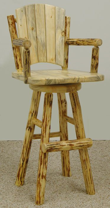 Rustic Mountain Hewn Swivel Bar Chair by MistyMtnFurn on Etsy, $750.00