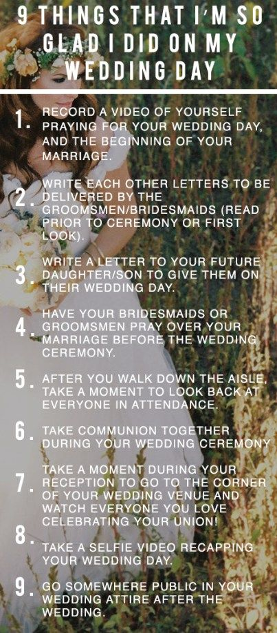 Encouraging read, but #s 4,5, & 7  are the ones to definitely keep in mind.  9 Things I'm So Glad I Did On My Wedding Day www.beating50percent.com Creative wedding day ideas that are free! #beating50percent #weddingday Audrey and Jeremy Roloff