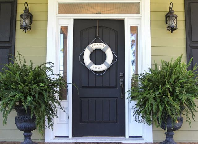 Front Door With Lifesaver Cute Take On A Wreath For Nautical Look