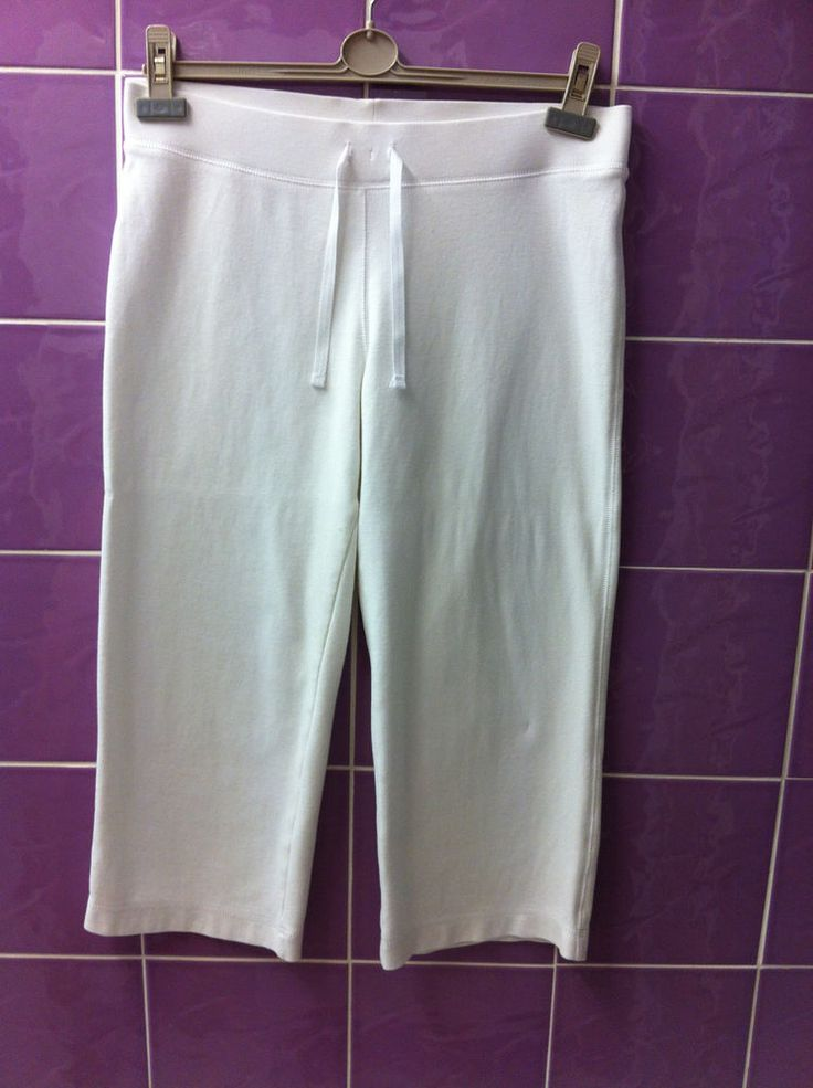 Ladies White Cherokee Crop Trousers - Size 12. GAN. FREE UK DELIVERY!