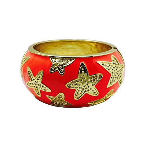 Activity Tracker Bracelet for Fitbit Charge or Charge HR Garmin VivoFit Misfit Shine or Flash Activity Trackers  The STARFISH Gold Nautical Starfish Bangle Bracelet Coral Garmin VivoSmart ** You can find more details by visiting the image link.