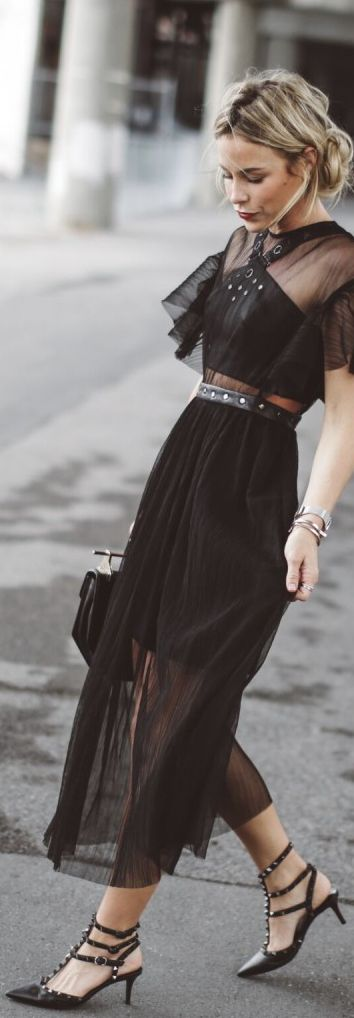 Street Style   Sheer Panel Black Dress