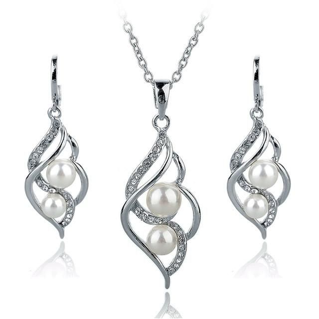 Gold Color Elegant Inlaid Crystal Jewelry Sets Imitation Pearl Earrings Necklaces Set For Women
