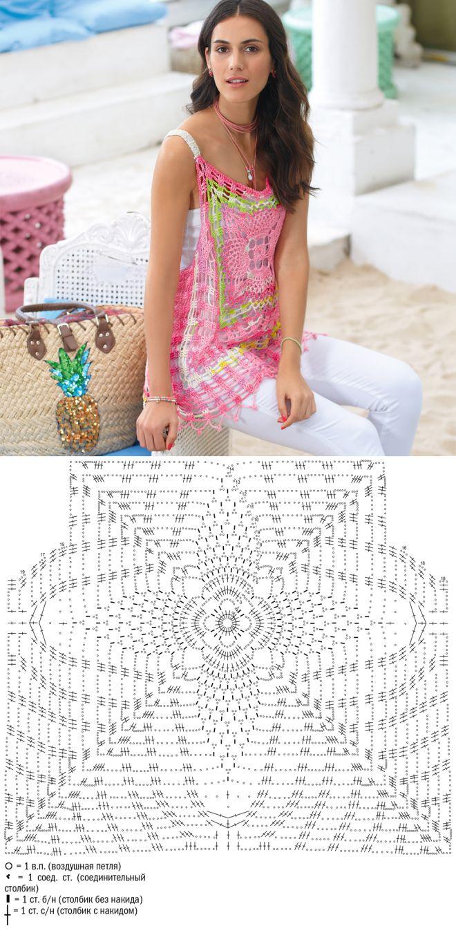 249 best blusas en crochet images on Pinterest | Knitting patterns ...