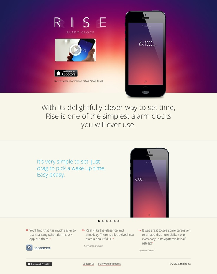 Rise iOS app website.  San serif. Gradient background.