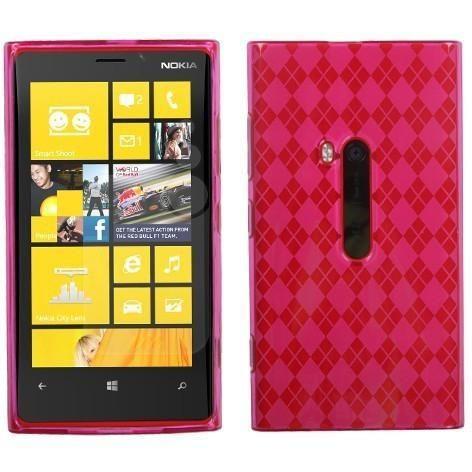 MYBAT Candy Skin Slim TPU Case for Nokia Lumia 920 - Hot Pink Argyle