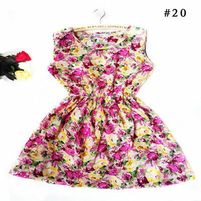 2016 Summer Women dress New Brand Casual Print Sleeveless Chiffon stripe floral print Elastic Waist Bohemian Beach Dresses