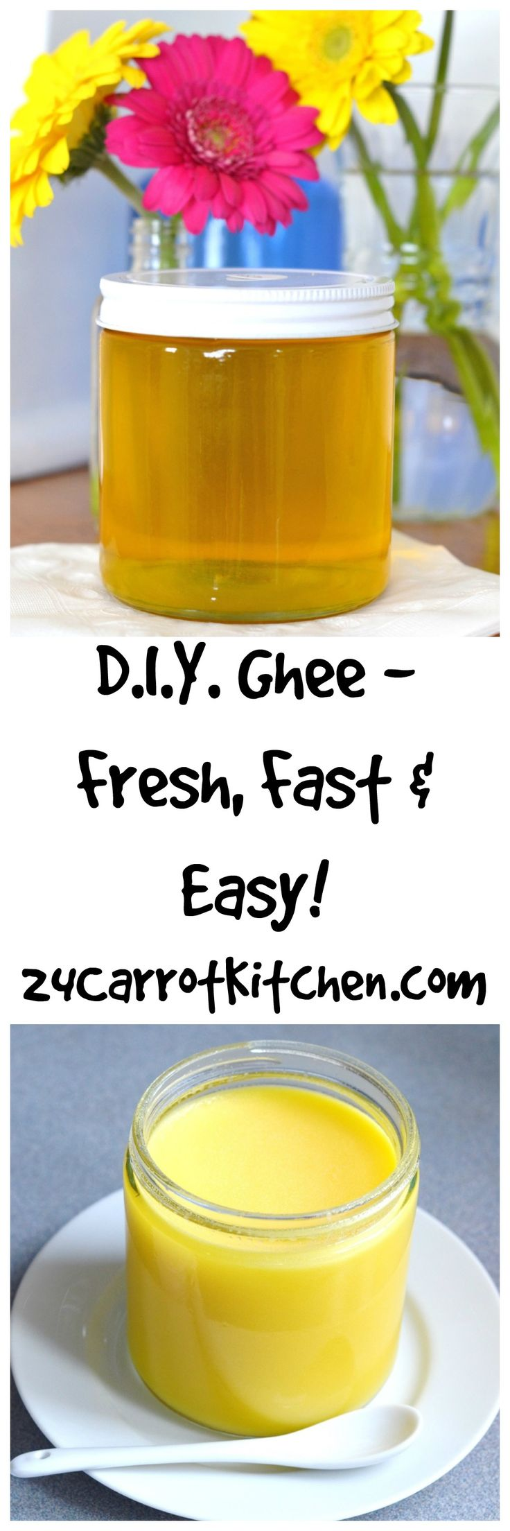 D.I.Y. Ghee, Fast, Fresh and Easy! This tutorial will have you making the most delicious, creamy GHEE (clarified butter) in no time!