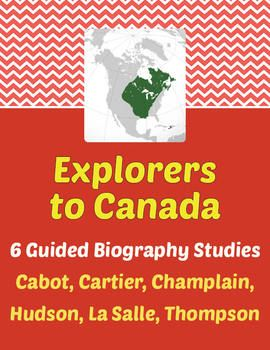 Explorers to Canada - Guided Biography Study Set of 6. Each of the 7 studies is a 10 or 11-page activity for students to complete using a published biography of the subject. Answer key and CC standards included. All may be purchased individually in my store.