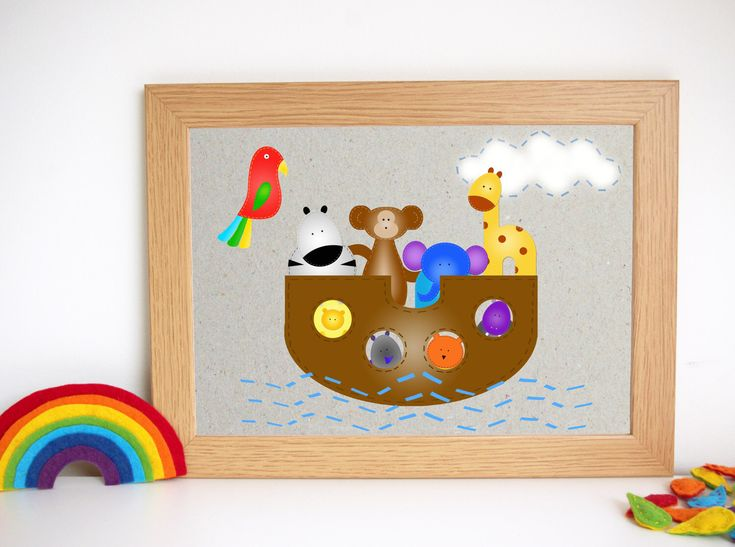 All the cute animals from FeltTails in an ark ☺️  #nurseryprints #homedecor #kidsroom
