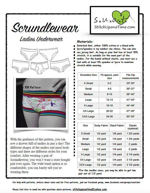 Scrundlewear Ladies Underwear PDF Sewing Pattern, Boyshorts, Briefs and More, XS-XXXL