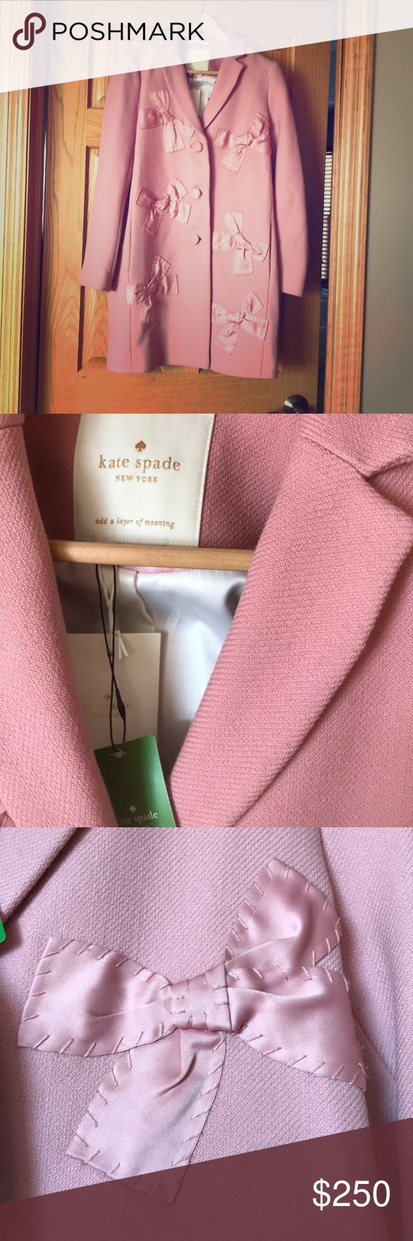 """Kate Spade ♠️ NWT Pink bow wool coat jacket Absolutely fun Kate Spade pink 3/4 length coat. This is so adorable with the bows and an amazing soft pink! It is a size 4. New with tags and extra buttons. It has a satin white interior. Gold on the pink buttons. - """"add a layer of meaning..."""" kate spade Jackets & Coats Pea Coats"""