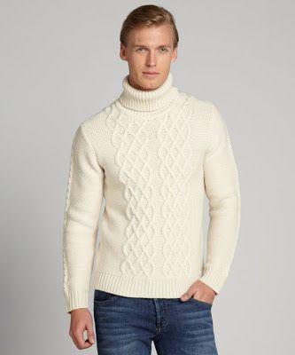SLATE & STONE cream 'Crosby' chunky wool turtleneck cable sweater