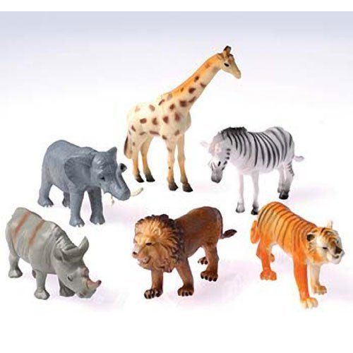 """Dozen Plastic Toy Safari Animals 4 1/2"""" by US Toy. $13.15. Includes 12 assorted safari animal figurines. Measures approx. 4 1/2"""" tall. Ideal for a party favor for zoo animal themed birthday parties. Hours of creative play for boys and girls alike. Assorted animals, styles may repeat - giraffe, rhinoceros, lion, tiger, zebra, elephant. Fresh from roaming the jungle, each toy wild animal in this assortment will be the life of the safari! Made of plastic. Assorted styles. Size 4¼"""" L."""