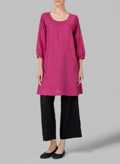 Linen Elbow Sleeve Tunic