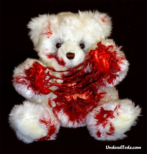 zombie bear white heart out.