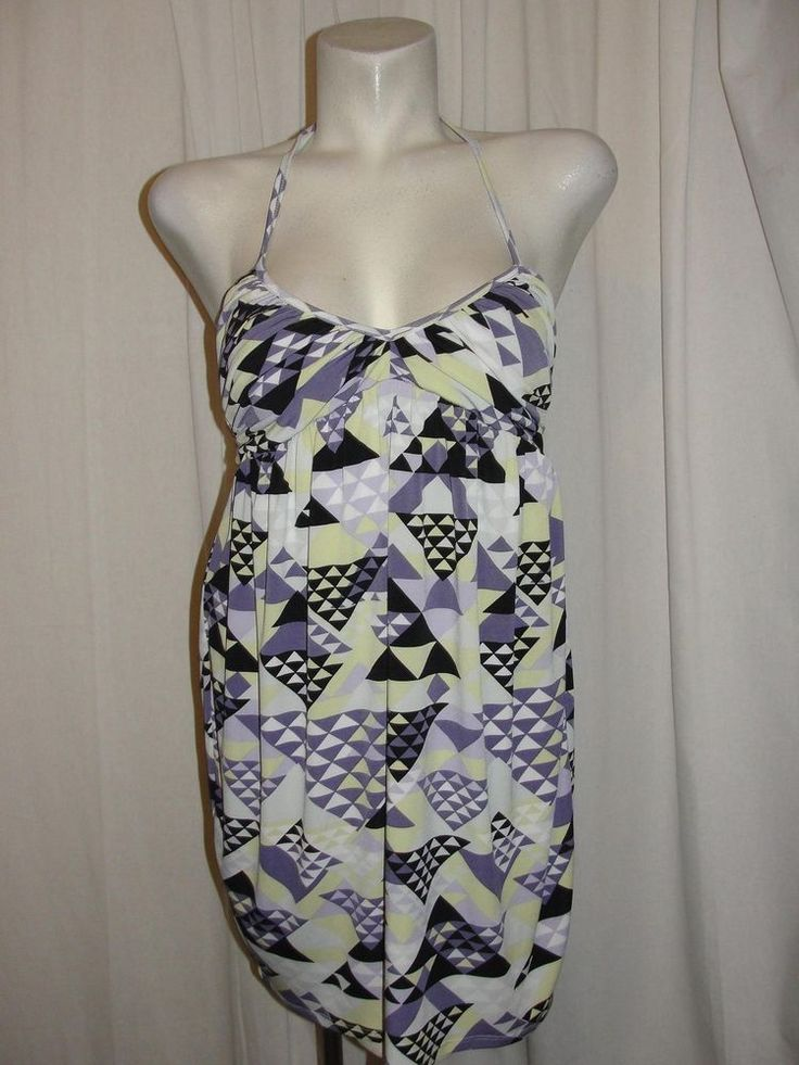 BCBGeneration Bubble Dress Halter Sleeveless Summer Purple Yellow Gray Sz Medium #BCBGeneration #SundressBubble #Casual