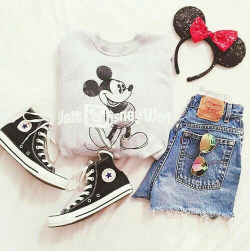 Disneyland outift, Mickey Mouse jumper, shorts and of course, Minnie Mouse ears