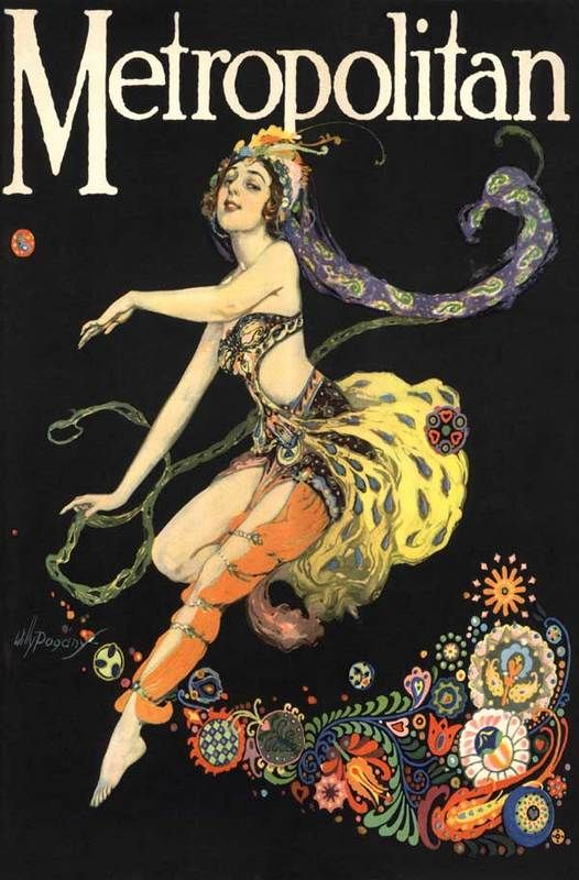 Willy Pogany, Metropolitan magazine, 1925.  Inspired by Leon Bakst's odalisque costumes for the Ballet Russes production of Scheherazade.