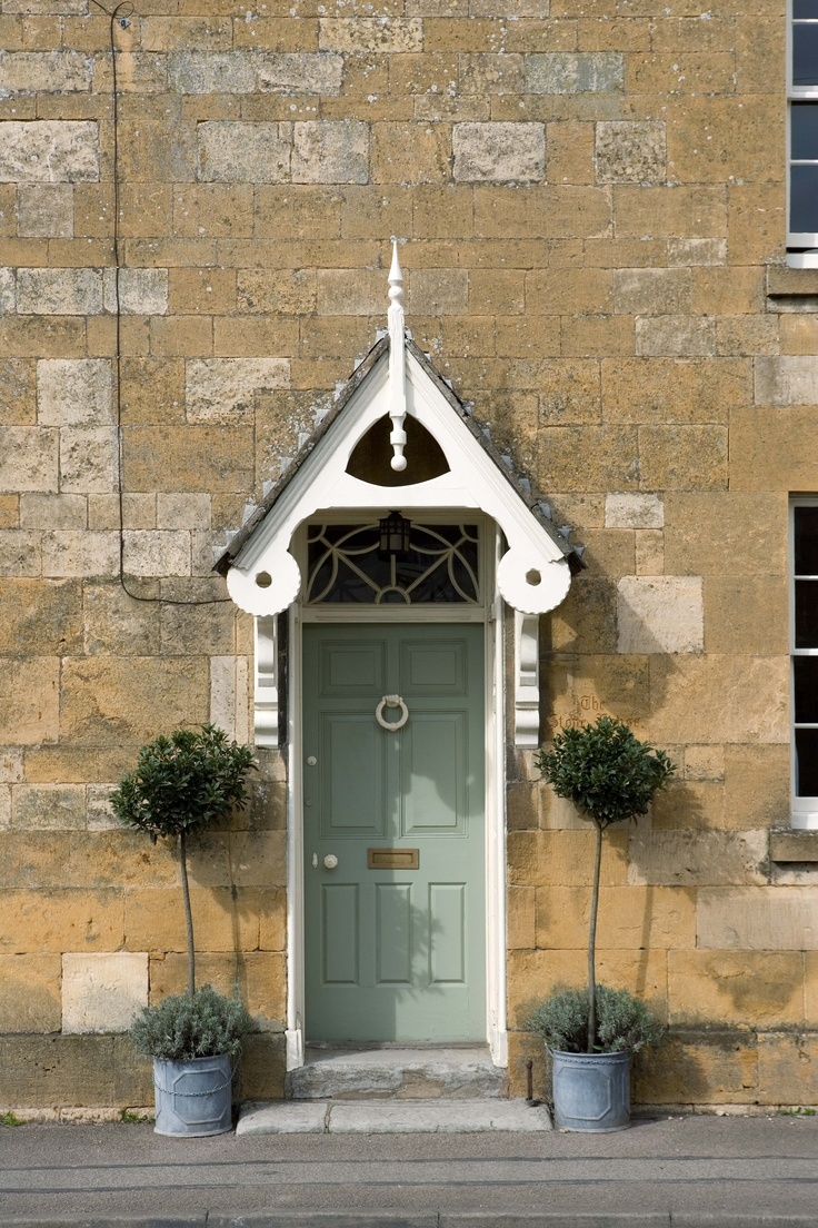 Front Doors | ... stone complemented with a front door painted in softly muted Lichen.