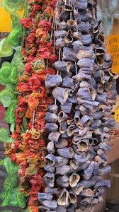 Dried peppers & aubergines    A Seasonal Cook in Turkey: The Kastamonu Market in Kasımpaşa