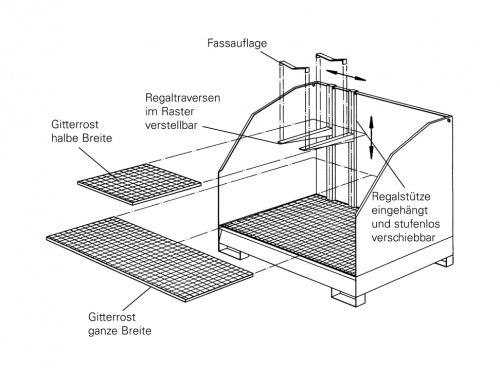 W.10040 - Regaltraversen (1 Paar) zum Einhängen v. Gitterrosten/Auflageschienen