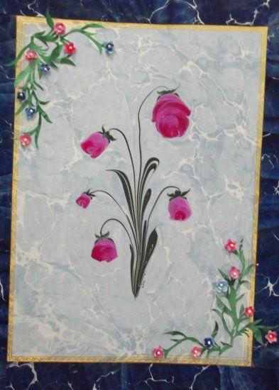 Artist : Hakime Saraçoğlu Teknik : Ebru üzerine katı çalışması Boya : Toprak boya Nisan / 2012