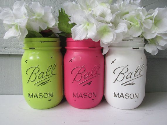 Painted and Distressed Ball Mason Jars- Lime Green, Hot Pink and White-Set of 3-Flower Vases, Rustic Wedding, Centerpieces