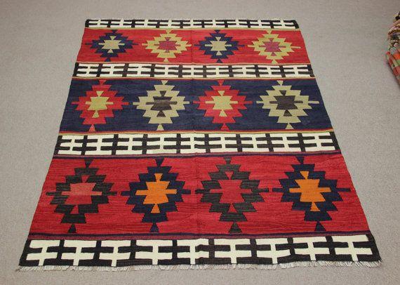 Turkish Vintage Kilim Rug 67x55 Feet Area Rug Sofa By Damgadecor