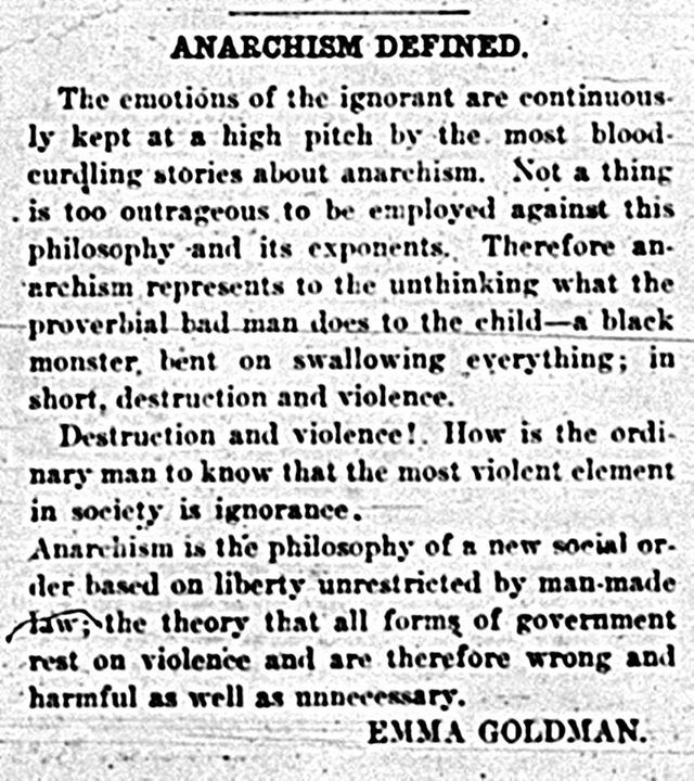emma goldman and anarchism Ally fogg: a hundred years after her masterpiece appeared, emma goldman's concerns are as current as ever.