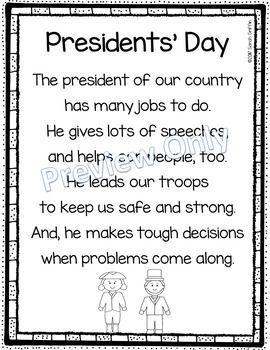 Presidents Day Poem for Kids | seasonal poems | holidays |