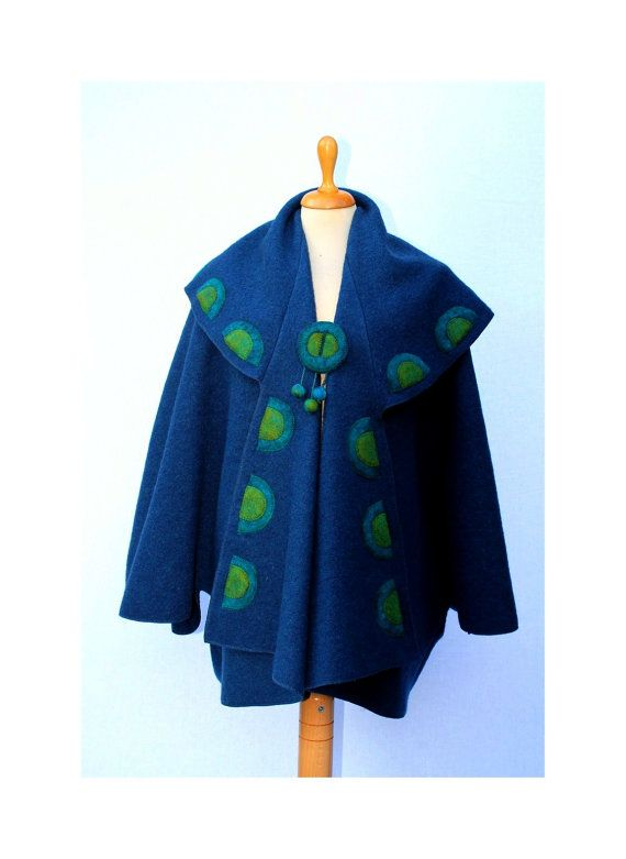 Individual and artistic dark turquoise blue boucle woolen  lapelcoat