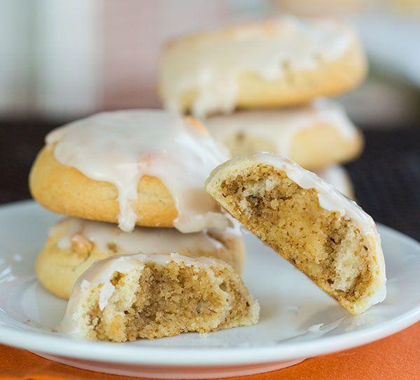 Italian Walnut Pillow Cookies - Little iced nut roll cookies that my grandma made every Thanksgiving! | browneyedbaker.com