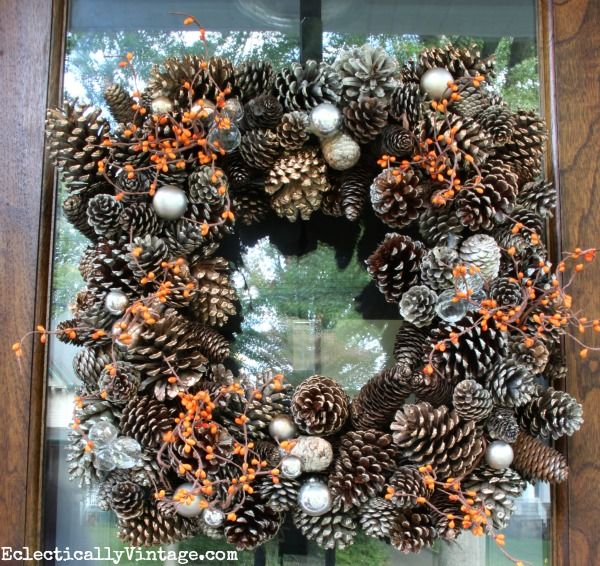 Pinecone Wreath and more simple fall decorating ideas eclecticallyvintage.com