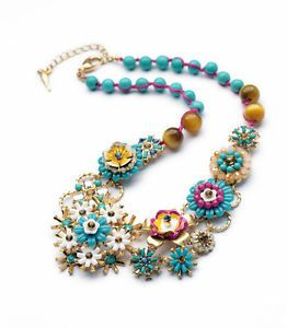 New Women Colorful Sun Flowers Summer Charm Choker Chunky Statement Necklace