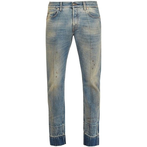 Gucci Stain-effect tapered-leg jeans (€895) ❤ liked on Polyvore featuring men's fashion, men's clothing, men's jeans, blue, gucci mens jeans, mens blue ripped jeans, mens slim fit tapered leg jeans, mens slim fit ripped jeans and mens torn jeans