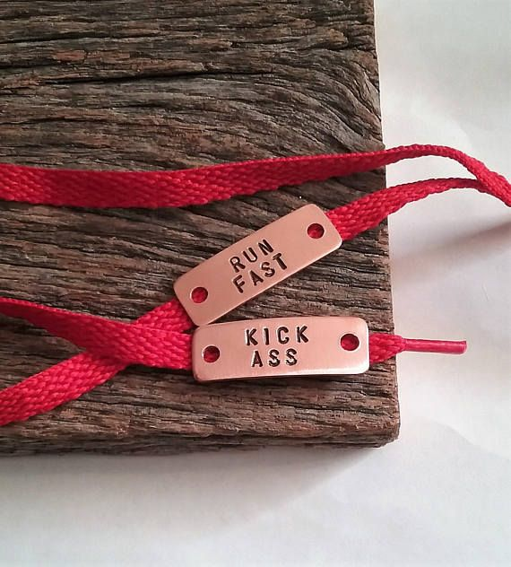 Run Fast Kick Ass Hand Stamped Athletic Shoe Tag Humor Jewelry Gift for Runner Gift for Boyfriend Gi
