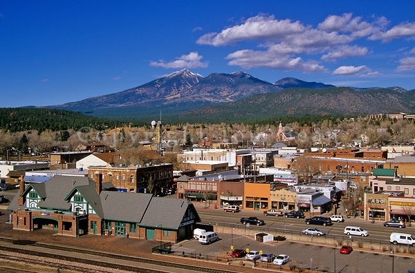 Flagstaff, AZ - Historic downtown area of Flagstaff along Route 66, with San Francisco Peaks in distance. | Tom Bean Photography