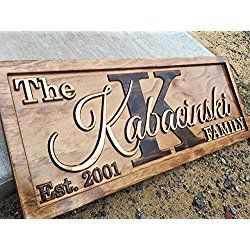 Personalized Family Name Sign, Wedding Gift Wall Art Rustic Home Decor Custom Carved Wooden Signs Couples 5 Year Anniversary Gift