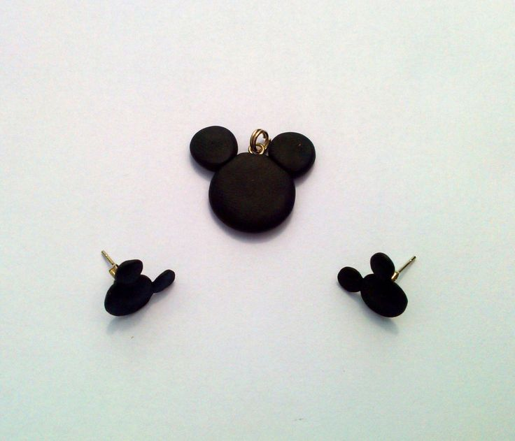 Mickey Mouse Inspired Set Earrings and Pendant Handmade Polymer Clay by MultiCrea on Etsy