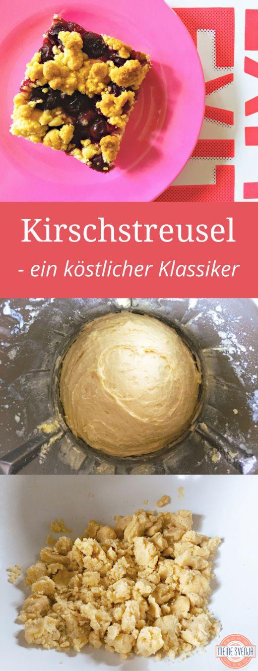 Kirschkuchen Streusel vom Blech - das beste Kirschkuchenrezepte, das ich je gebacken habe. Ein echter Klassiker und total beliebter Blechkuchen für Kindergeburtstage. Auf dem Blog von meinesvenja http://www.meinesvenja.de/2017/03/18/kirschstreusel-vom-blech/