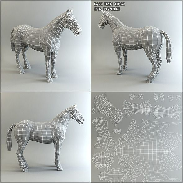 Low Poly Base Mesh Horse - 3DOcean Item for Sale