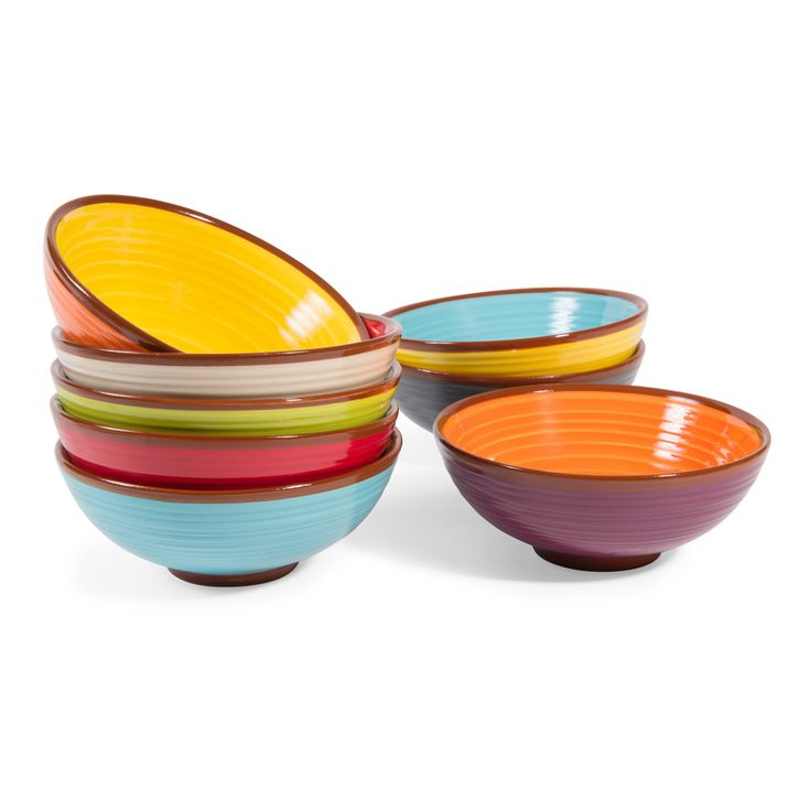 8 BARCELONE terracotta shallow bowls, multicoloured   - Sold in sets of 8