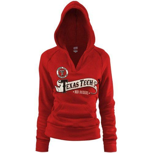 NCAA Texas Tech Red Raiders Ladies Scarlet Rugby Distressed Deep V-neck Hoodie Sweatshirt (Medium) by Soffe. $35.95. Texas Tech Red Raiders Ladies Scarlet Rugby Distressed Deep V-neck Hoodie Sweatshirt7.5oz. Lightweight fleeceDistressed screen print graphicsTrue junior fitOfficially licensed collegiate productDeep v-neckRib-knit cuffs, waist, hood & pocket trimImportedLightweight pullover hoodie with soft fleece liningFront pouch pocket50% Cotton/50% Polyester...