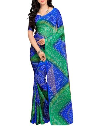 blue & green chiffon bandhani saree - Online Shopping for Sarees