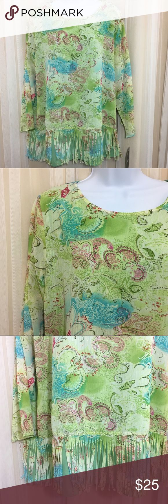 """Calessa Hi Lo Fringe Blouse Floral/paisley Calessa Women's Hi Lo Fringe Blouse. Floral/paisley design. Long Sleeves are sheer. Fully lined. Colors of green, blue, and pink, w/ sparkling gold weaved throughout. Size Medium. 100% Polyester.   New With Tags. Excellent condition, no flaws. See pictures for details. All measurements are taken with item laying flat. Measurements: Chest (underarm to underarm)-  22"""" Length (back neck seam to bottom)-  29"""" Sleeve - 21"""" 📦📦 Fast Shipping. I strive…"""