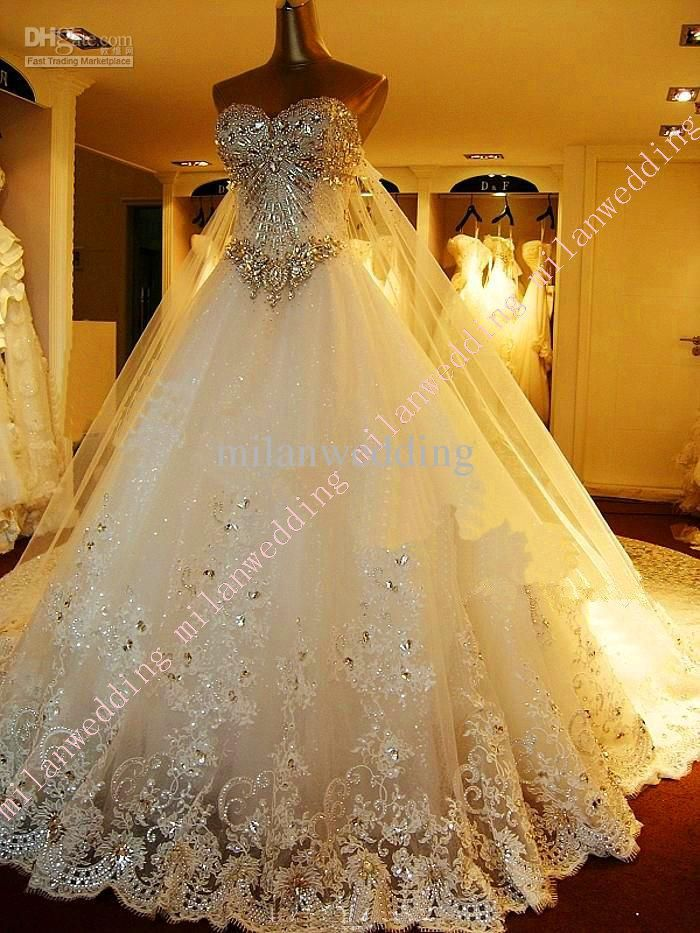 Wholesale 2013 Luxury Bridal Dress Tulle Applique Sweetheart Bling Exquisite cathedral train wedding dresses, Free shipping, $356.16~367.36/Piece   DHgate Mobile