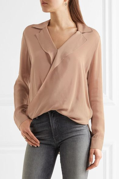 L'Agence - Rita Wrap-effect Washed Silk-georgette Blouse - Mushroom - x small