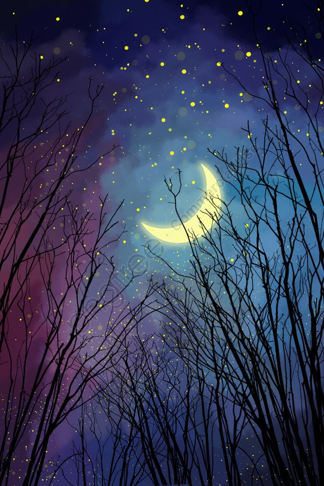 Night Forest Sky Beautiful Silhouette Branch Illustration Image On Pngtree Free Download On Pngtree Night Sky Painting Beautiful Night Sky Forest Moon